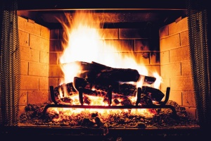 fireplace, fire, wood, flame, smoke, heat, metal, brick