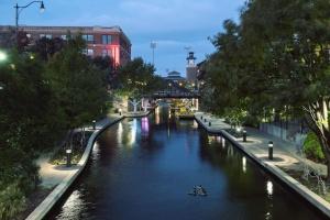 kanalen, vann, båt, street, lys, tre, turisme