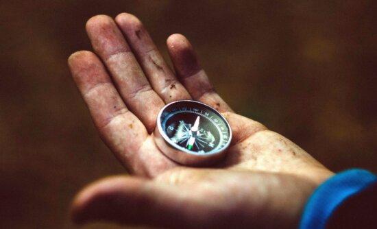 compass, hand, magnet, orientation