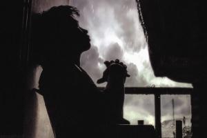 мъж, силует, ограда, бани, дъжд, вода, облак