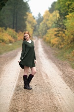 road, girl, redhead, forest