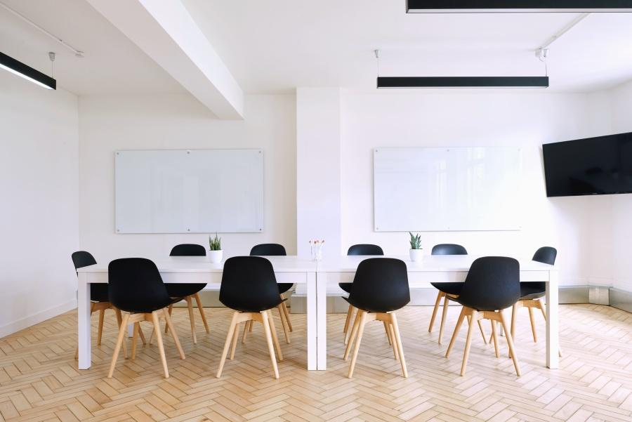 Ufficio, interno, televisione, sedia, tavolo, riunione