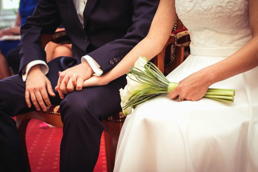 bride, groom, wedding, bouquet, hand, marriage, love