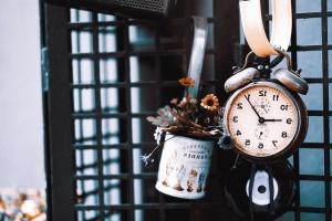 Reloj, mecánico, despertador, hora, minuto, segundo, metal, campana