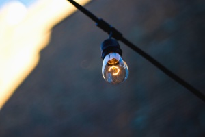 light bulb, electricity, thread, wire, glass, metal