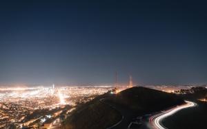 Montaña, torre, ciudad, luz, línea, velocidad, transporte, camino