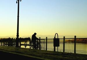 Uomo, recinzione, luce di strada, banco, bicicletta, cestino, fiume, ponte