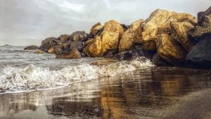 havet, bølge, refleksion, sten, sand, strand