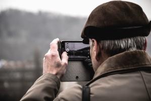 Mann, Hut, Handy, Foto, Berg, Technologie, Arm