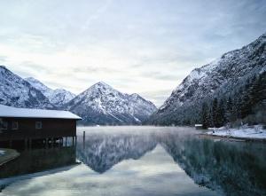 ház, tó, part, víz, hó, tél, elmélkedés