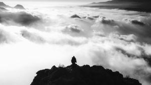 man, mountaineer, mountain, rocks, sky, black, white