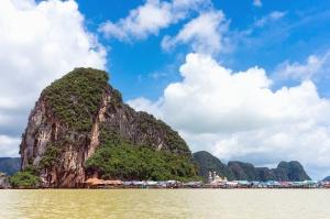 Mer, montagne, rochers, plage, bungalow, arbre, plante, récif