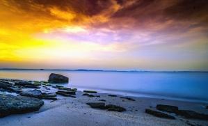 sky, landscape, sea, beach, stone, sand, water