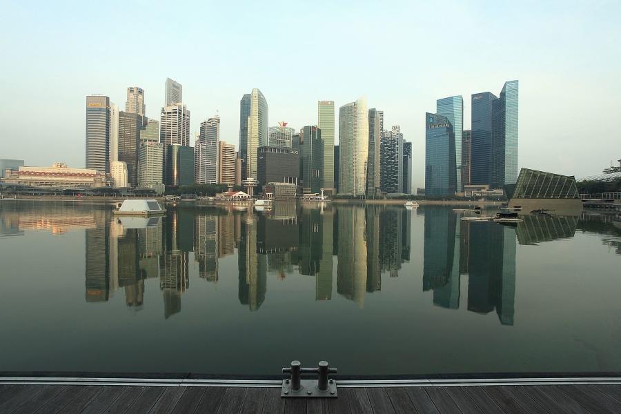 reflectie, gebouw, architectuur, meer, water, stad