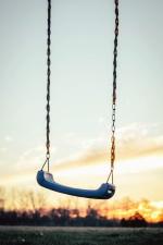 Oscilación, madera, cielo del atardecer, cadena, asiento