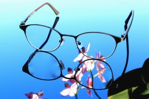 eyeglasses, glass, flower, reflection, metal