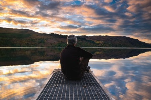 reflection, mountain, man, dock, water, lake, sky, cloud