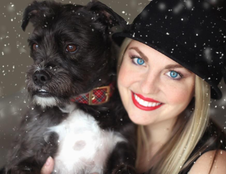 Ragazza, cane, animale, animale domestico, modello di foto, trucco, cappello, neve, fiocco di neve