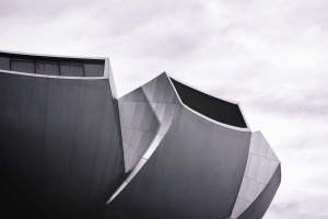 construção, moderna arquitetura, fachada, céu, preto e branco