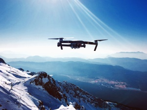 drone, aircraft, flight, sky, mountain, valley, snow