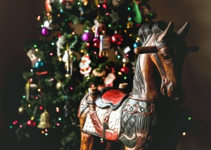 wooden, horse, christmas tree, ornaments, christmas, new year, celebration