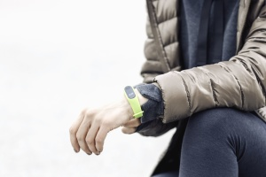 Reloj, moderno, digital, tecnología, mano, hombre, chaqueta