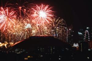 Feuerwerk, feier, farbe, bunt, spaßpark, stadt