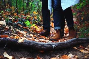 lesa, lístie, popol, drevo, topánky, nohavice, muž, žena