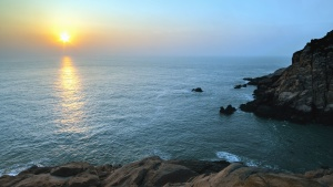 Sol, hav, cliff, sten, vand, bølge