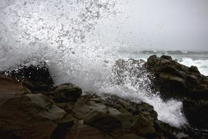 rocks, wave, splash, water, sea, cloudy