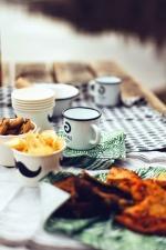 Tasse, Schüssel, Tisch, Essen, Fleisch, Kartoffel, Mittagessen