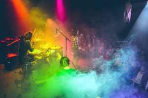 music, night, band, concert, smoke, light, microphone, color