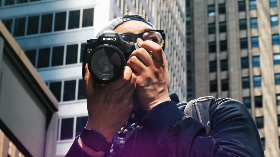 фотограф, сграда, очила, човек, прозореца, град, леща