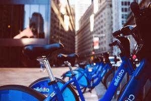 bicycle, metal, steering wheel, seat, parked, street, asphalt, city