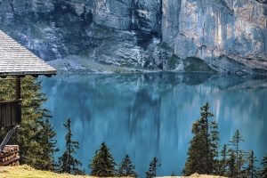 산, 나무, 집, 나무, 물, 호수, 반사