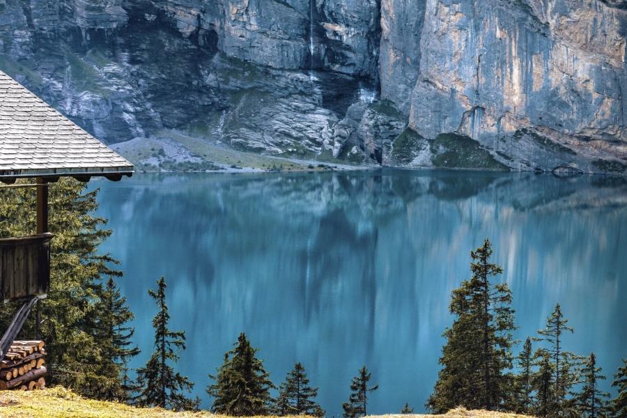 βουνό, δέντρο, σπίτι, ξύλο, νερό, λίμνη, αντανάκλαση