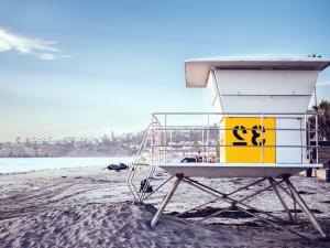 Beach, písek, kabina, plavčík, pobřeží, moře, voda