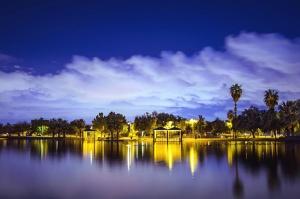 cloud, sky, town, coast, palm, sea, water