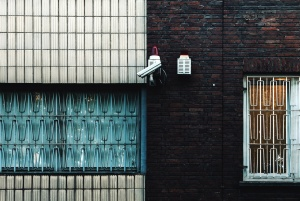 wall, brick, surveillance camera, security, window, grille, metal