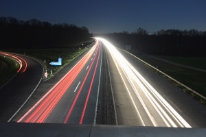 motorvejen, lys, hastighed, linje, vejskilt, overføring, skov