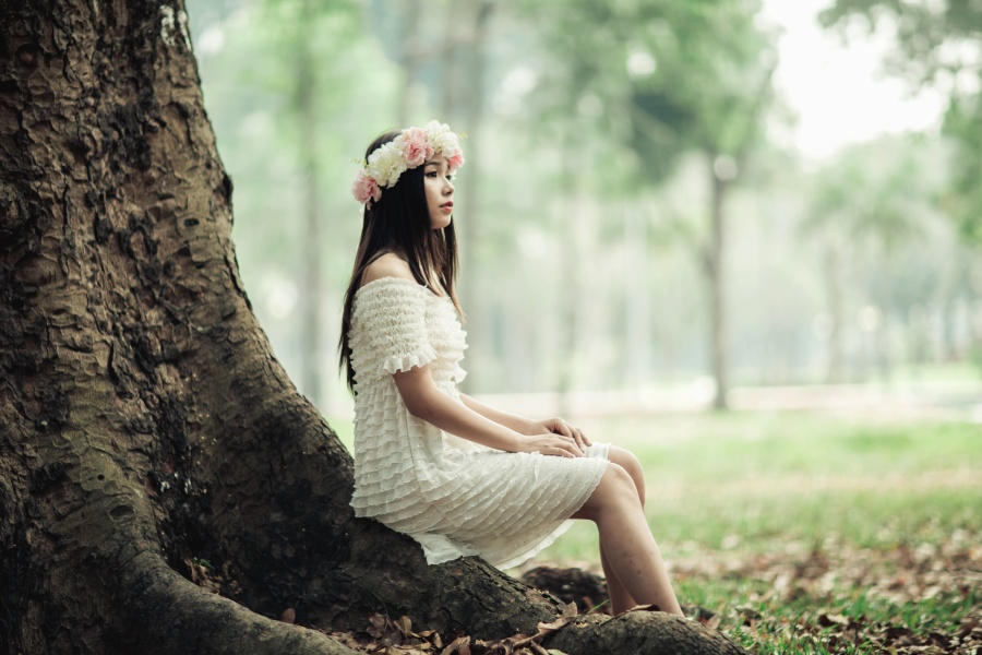 Kız, Foto model, çelenk, çiçek, ağaç, elbise, orman, doğa