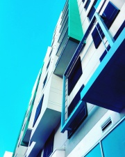modern, building, architecture, colors, terrace, facade