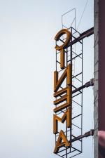iklan, bioskop, bangunan, cahaya langit
