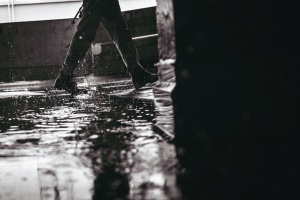 leg, rain, reflection, black and white, wet, water