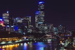 市、光、橋、川、反射、船舶、建築