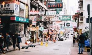Asie, rue, voiture, asphalte, homme, publicité, magasin