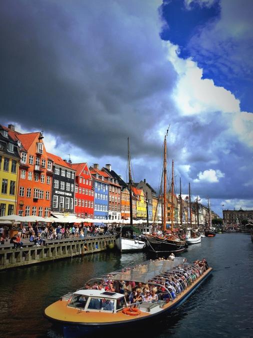 brod, turistički, kanal, voda, zgrada, fasade, boja, oblak, nebo, obala