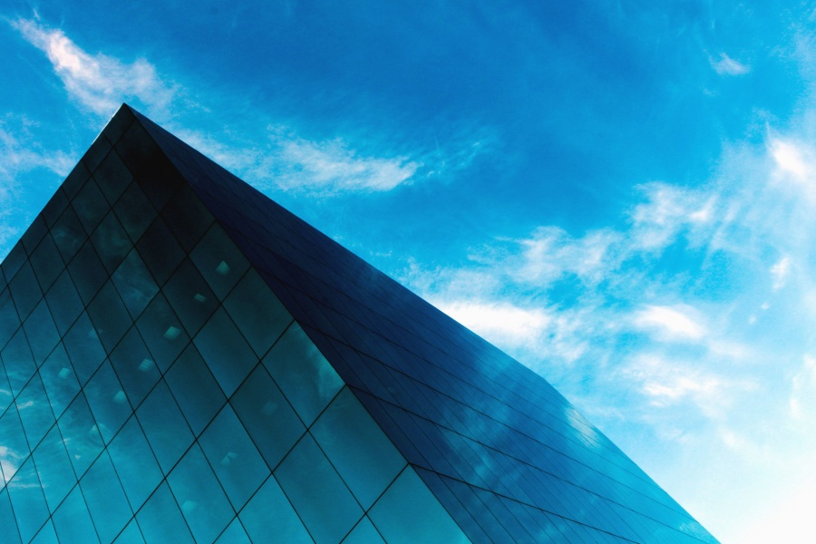 модерен, сграда, фасада, стъкло, архитектура, небе