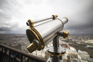 telescope, lens, looking, metal, fence, city, cloudy