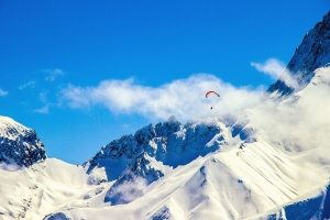 sport, parachute, man, mountain, sky, snow, cold, winter